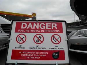Fuel Fix danger sign